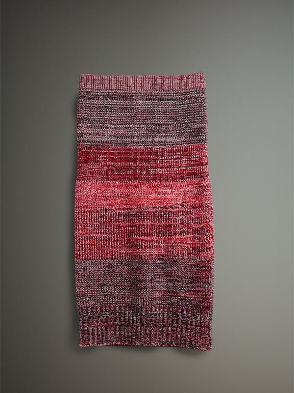 Saia de cashmere, algodão e lã em fio mouliné (Vermelho/preto) - Mulheres | Burberry - cell image 3