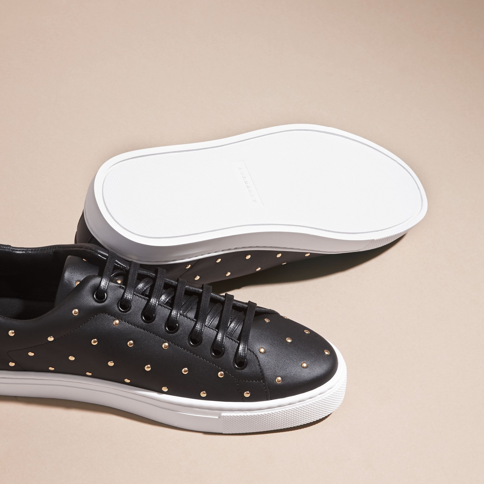Black Studded Leather Sneakers - gallery image 5