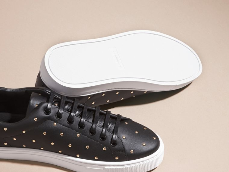 Black Studded Leather Sneakers - cell image 4
