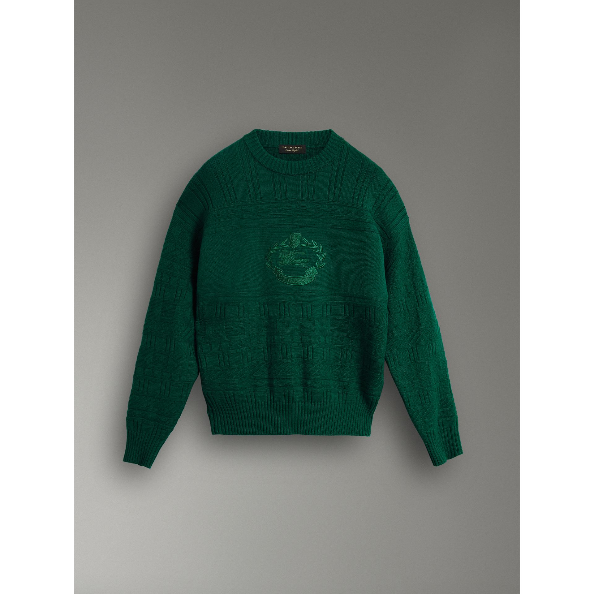 Reissued Wool Sweater in Dark Green - Women | Burberry Singapore - gallery image 3