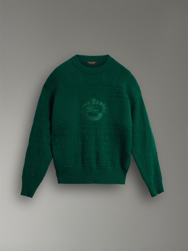 Reissued Wool Sweater in Dark Green - Women | Burberry Singapore - cell image 3