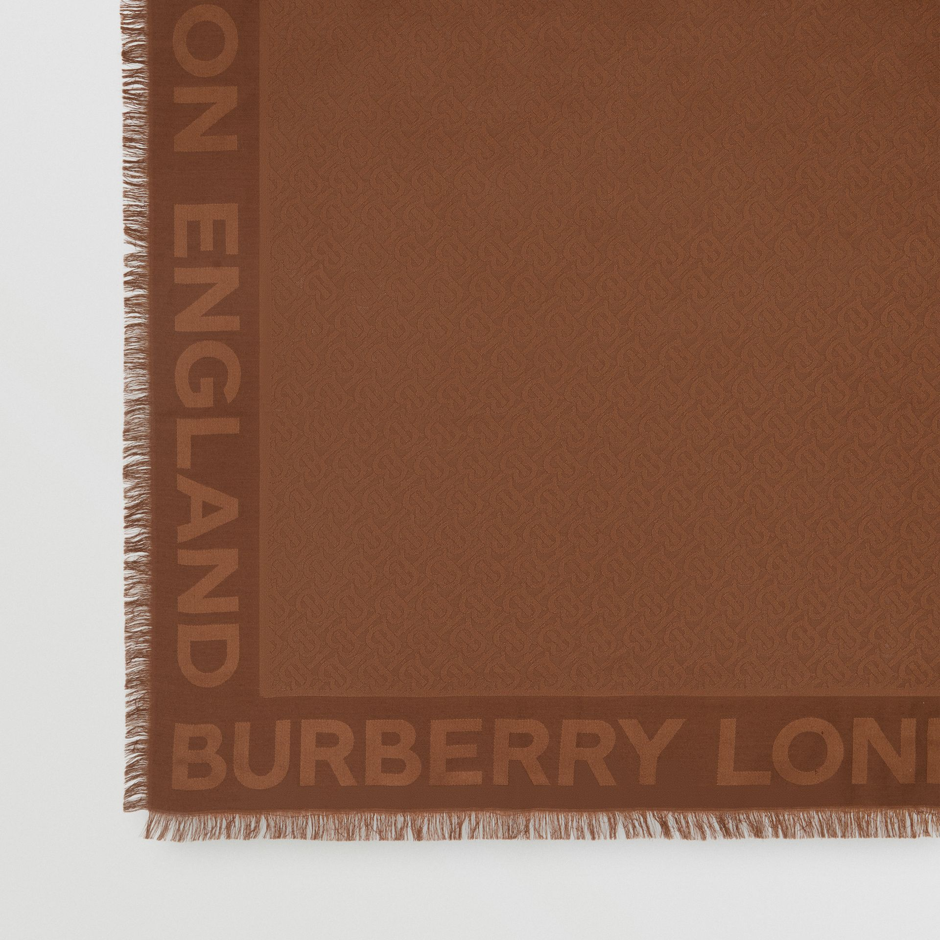 Monogram Silk Wool Jacquard Large Square Scarf in Dark Chestnut Brown | Burberry - gallery image 1