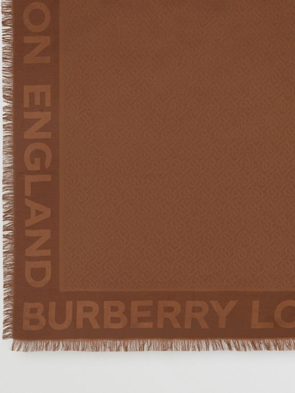 Monogram Silk Wool Jacquard Large Square Scarf in Dark Chestnut Brown | Burberry - cell image 1