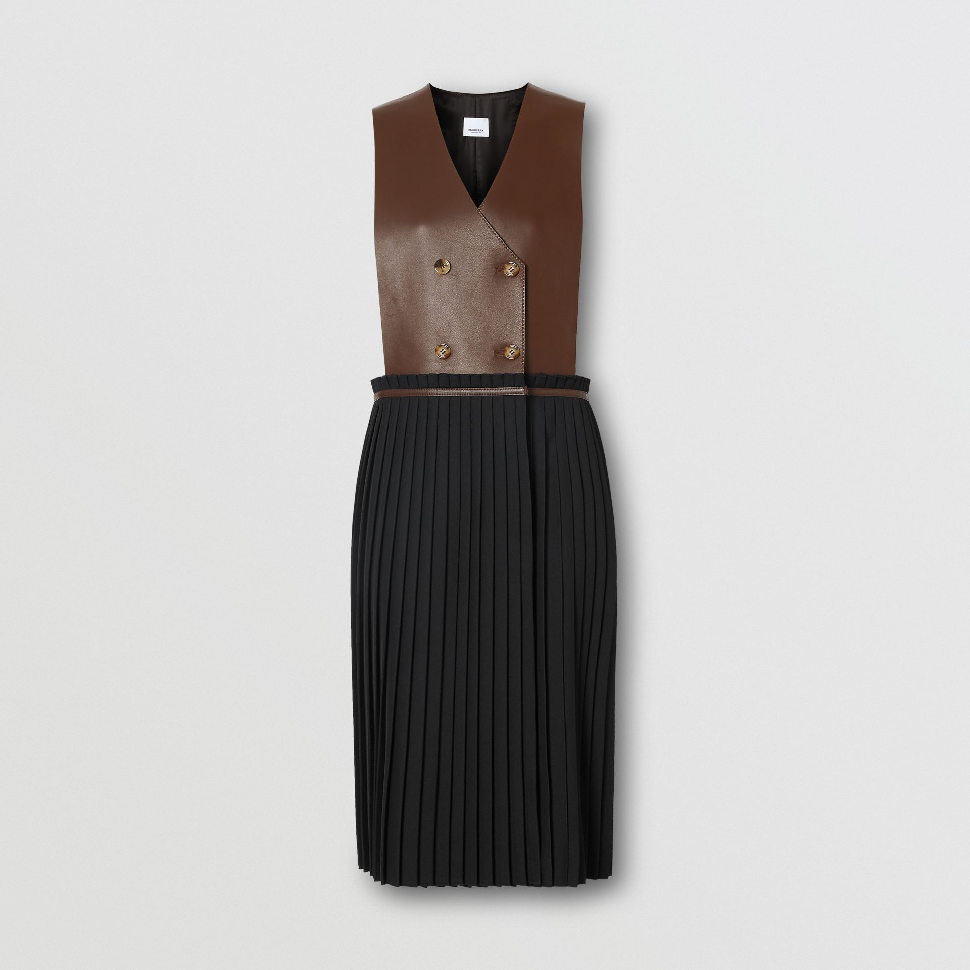 Plonge Lambskin and Wool Blend Pinafore Dress in Dark Mocha - Women | Burberry Hong Kong S.A.R - gallery image 3