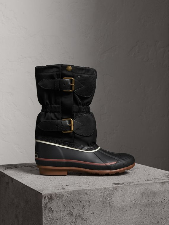 Rubber Leather Blend Duck Boots in Black