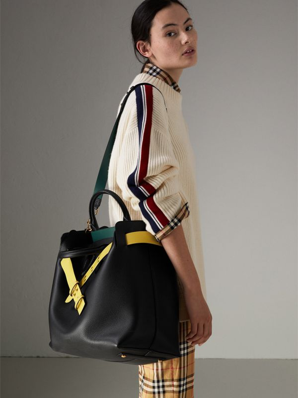 The Large Leather Belt Bag in Black/yellow | Burberry - cell image 2