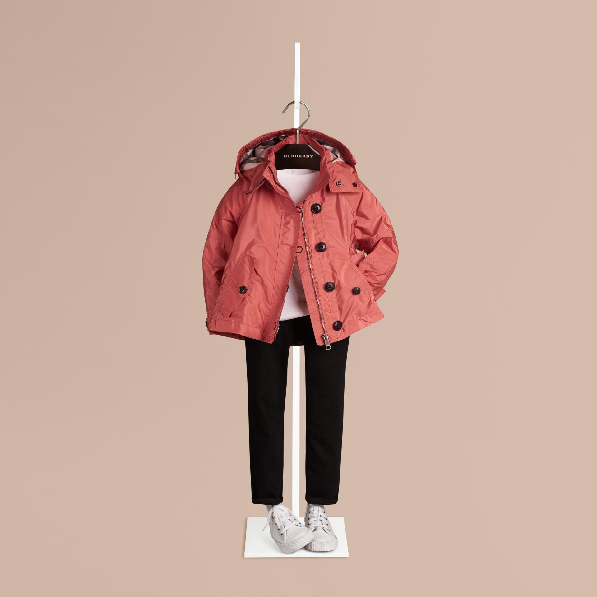 Rosa rame brillante Giacca tecnica con cappuccio Rosa Rame Brillante - immagine della galleria 1