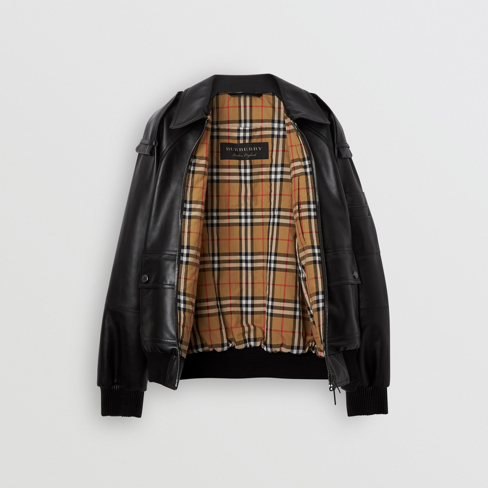 Lambskin Bomber Jacket in Black - Men | Burberry - gallery image 3