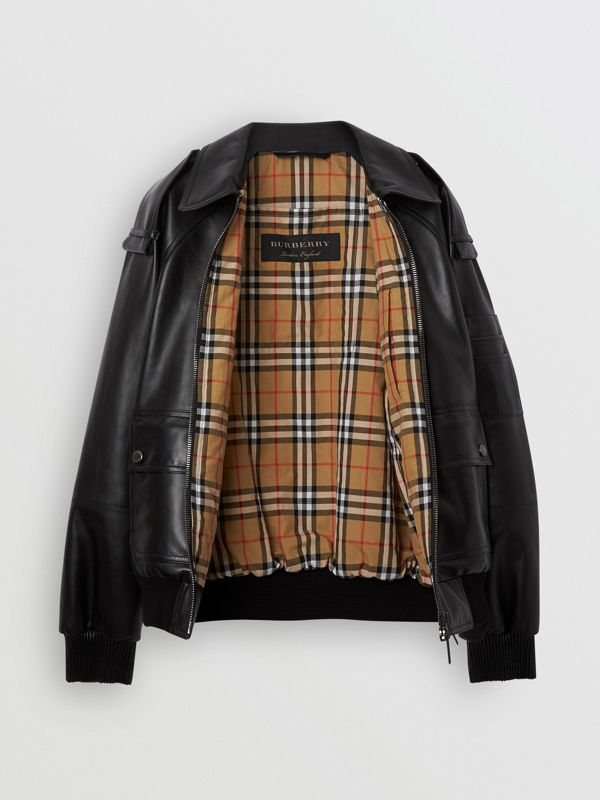 Lambskin Bomber Jacket in Black - Men | Burberry United Kingdom - cell image 3