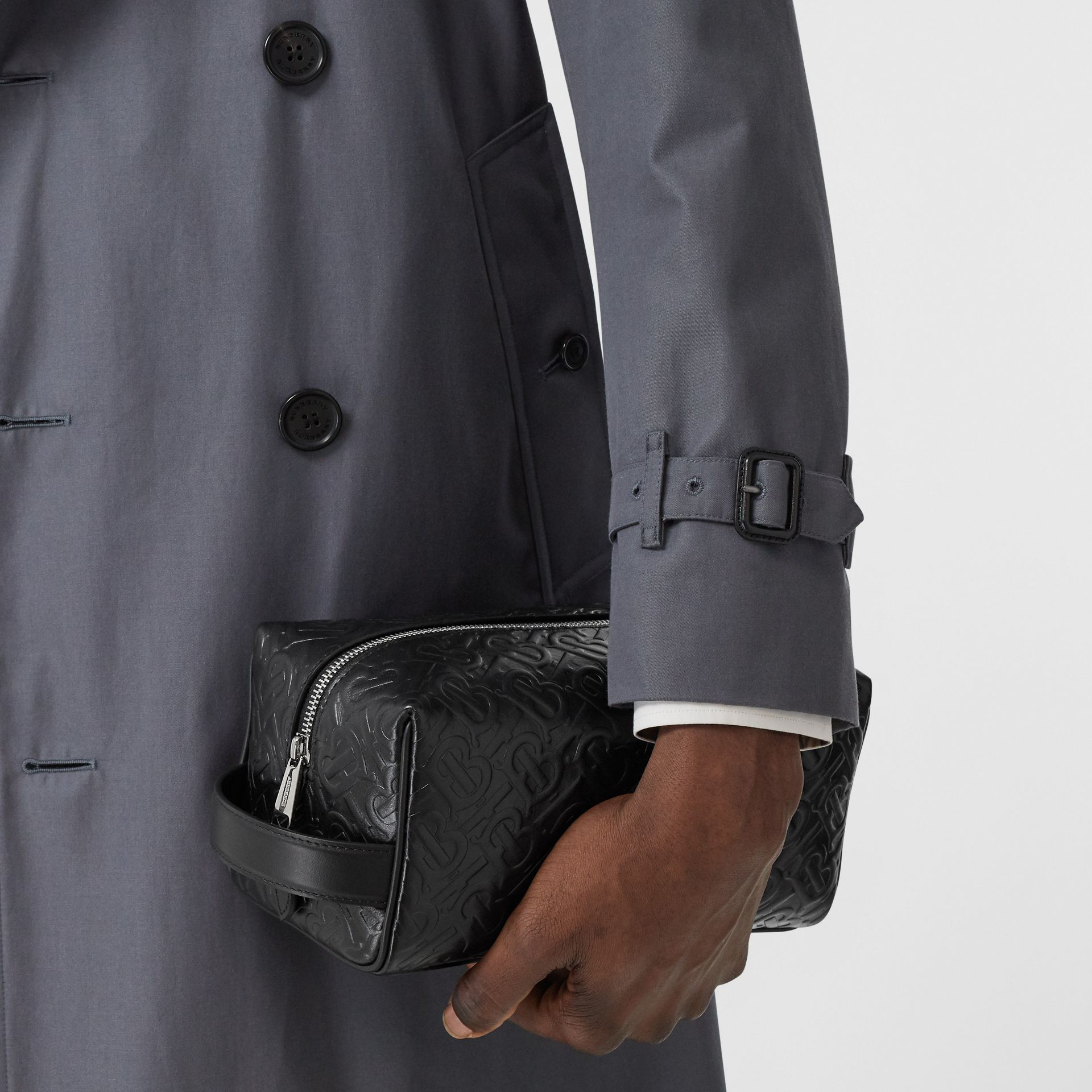 Monogram Leather Travel Pouch in Black - Men | Burberry United Kingdom - gallery image 2