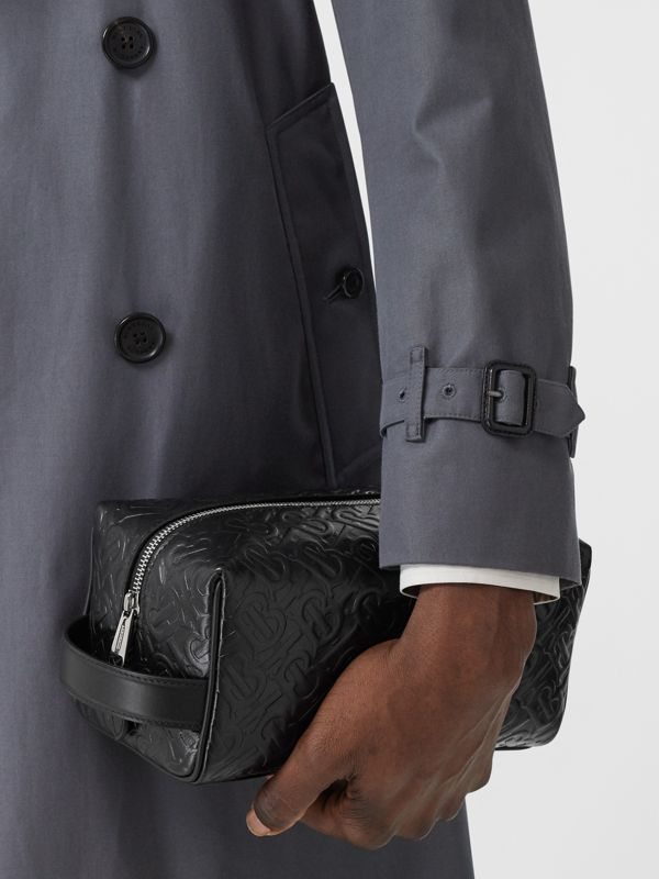 Monogram Leather Travel Pouch in Black - Men | Burberry United Kingdom - cell image 2