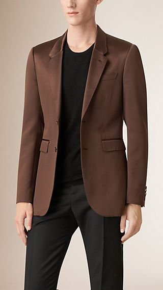 Slim Fit Structured Technical Silk Blazer