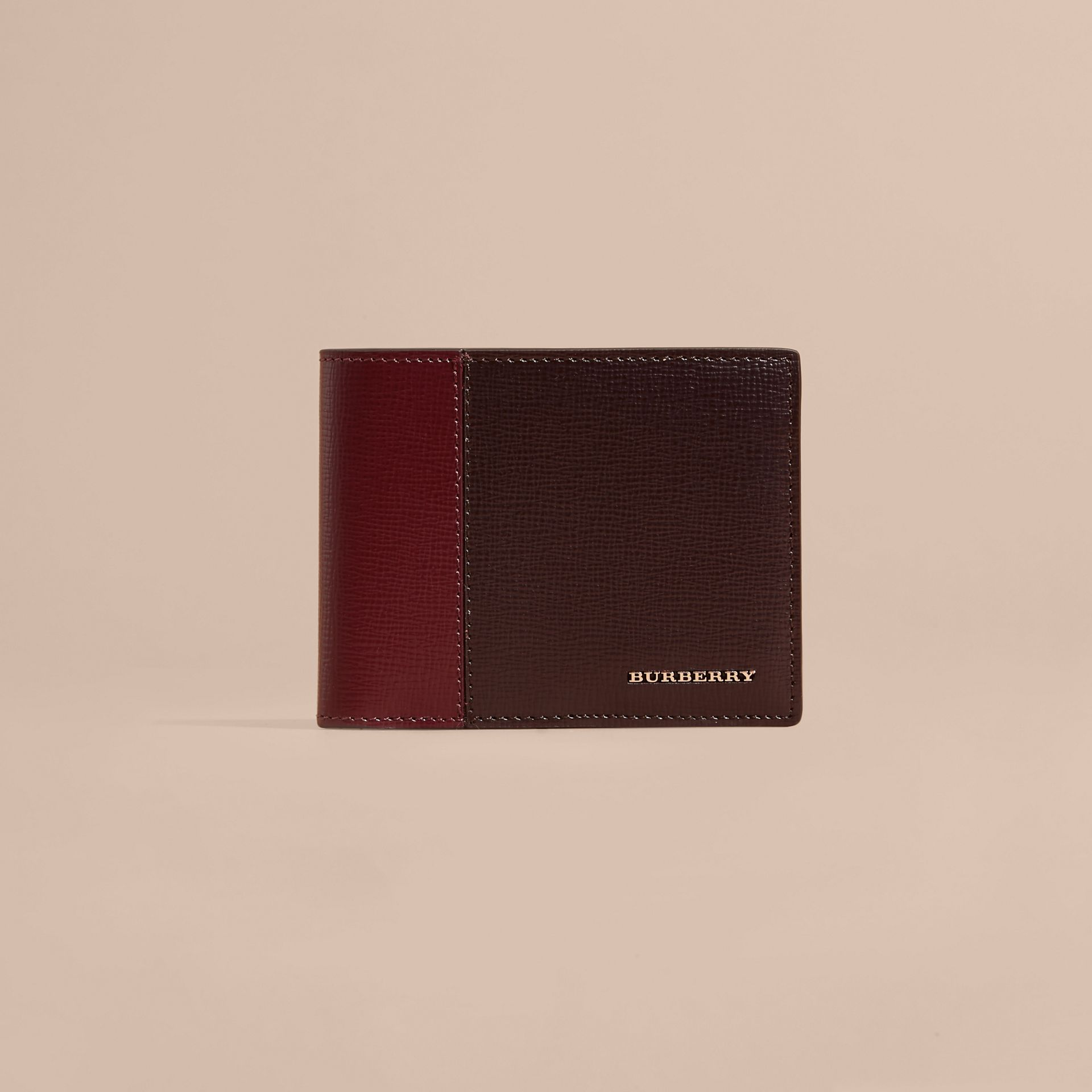Wine/burgundy red Panelled London Leather Folding Wallet - gallery image 6