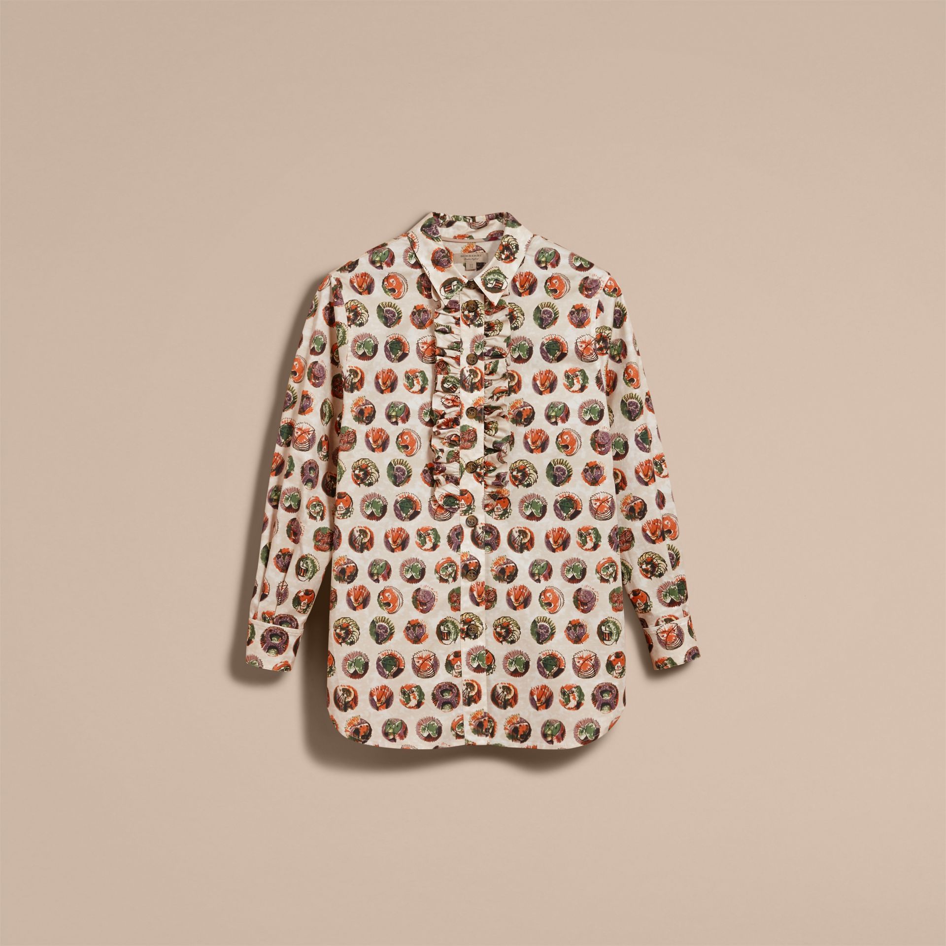 Pallas Heads Print Cotton Shirt in Natural White - Women | Burberry - gallery image 4