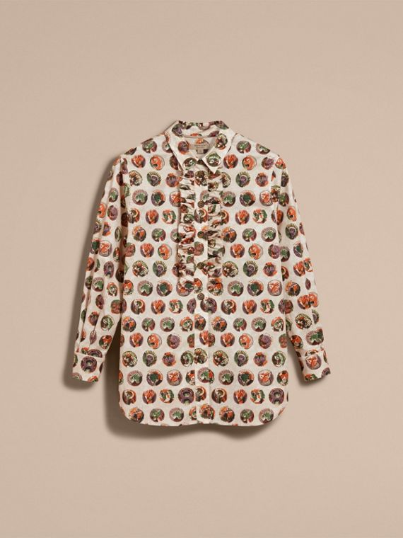 Camicia in cotone con stampa Pallas Heads (Bianco Naturale) - Donna | Burberry - cell image 3