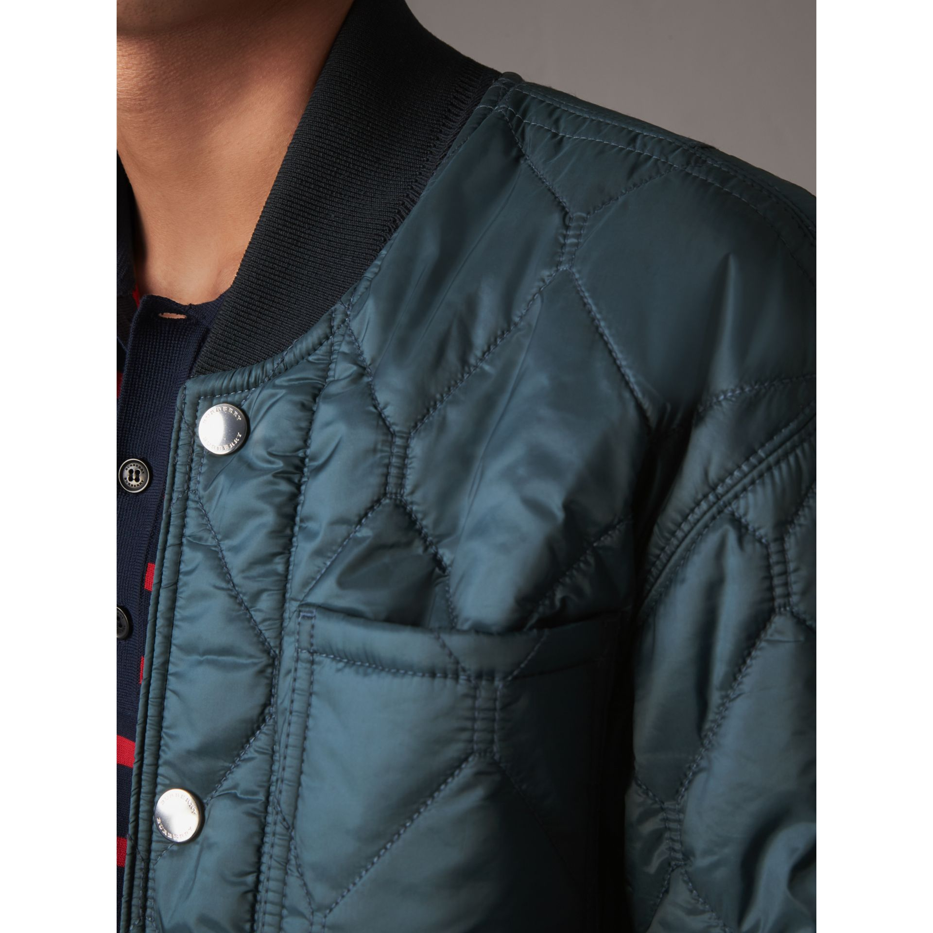 Quilted Bomber Jacket in Petrol Blue - Men | Burberry - gallery image 2