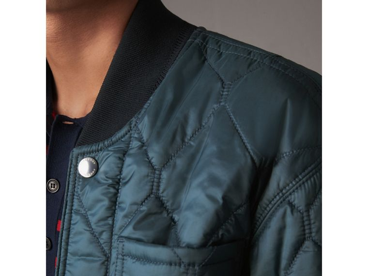 Quilted Bomber Jacket in Petrol Blue - Men | Burberry - cell image 1
