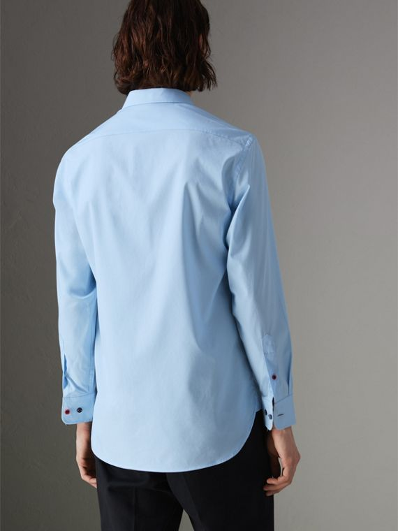 Contrast Button Stretch Cotton Shirt in Pale Blue - Men | Burberry Australia - cell image 2