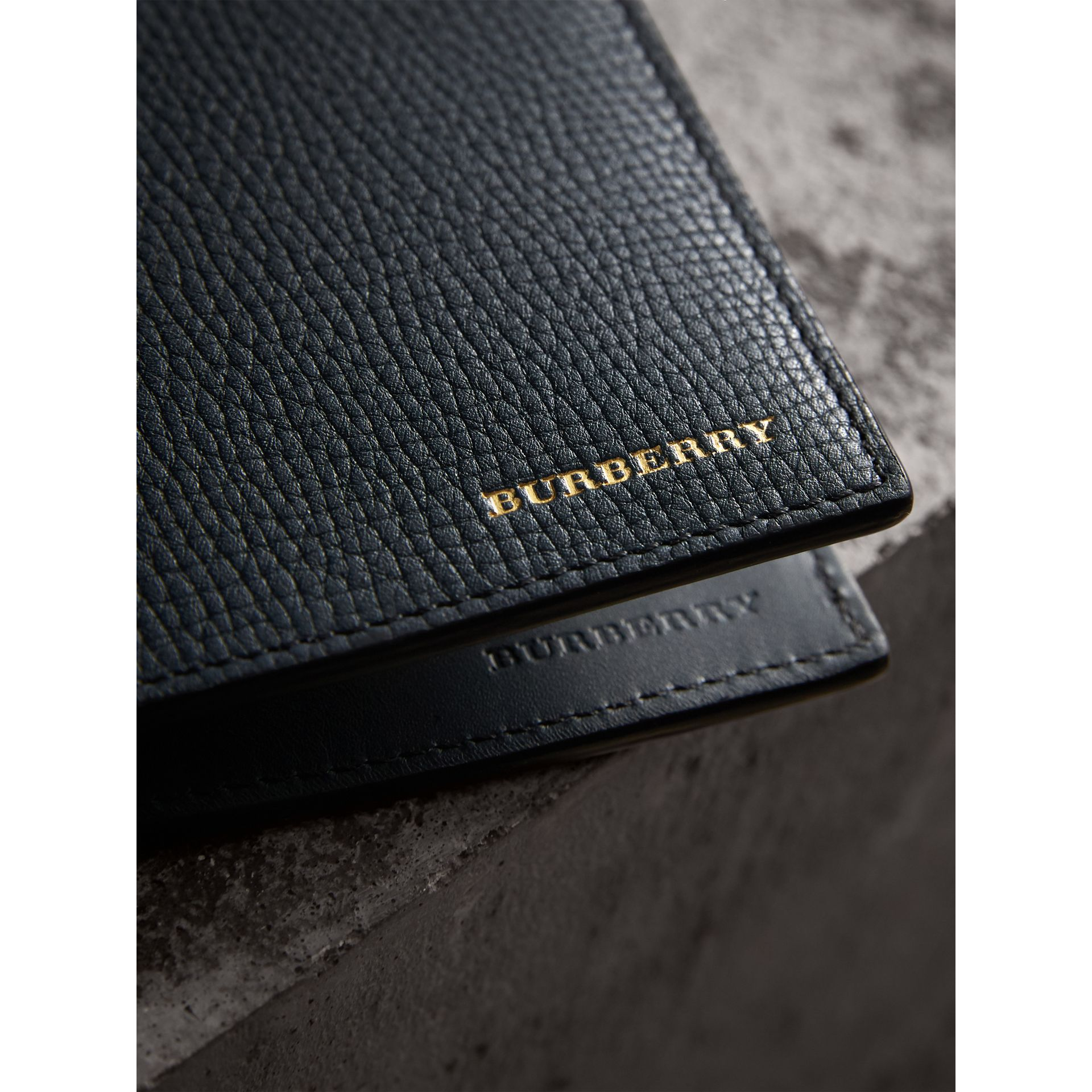Leather and House Check International Bifold Wallet in Storm Blue | Burberry Canada - gallery image 2