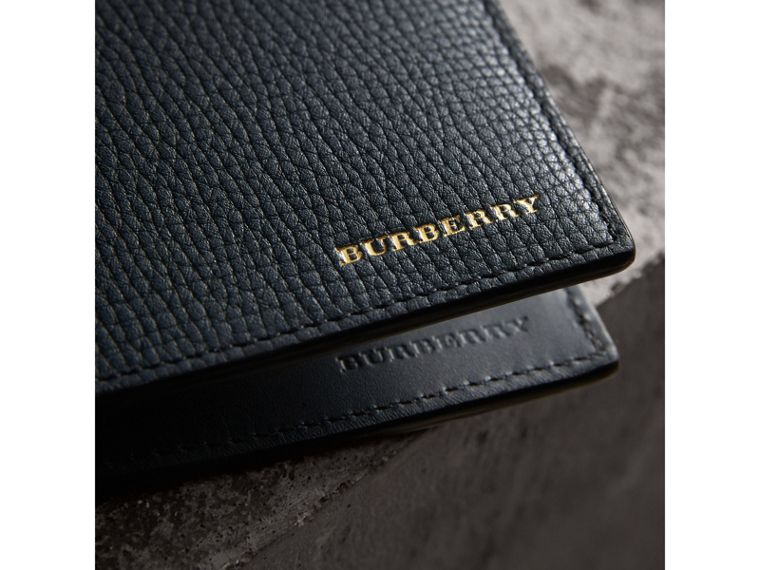 Leather and House Check International Bifold Wallet in Storm Blue | Burberry Canada - cell image 1