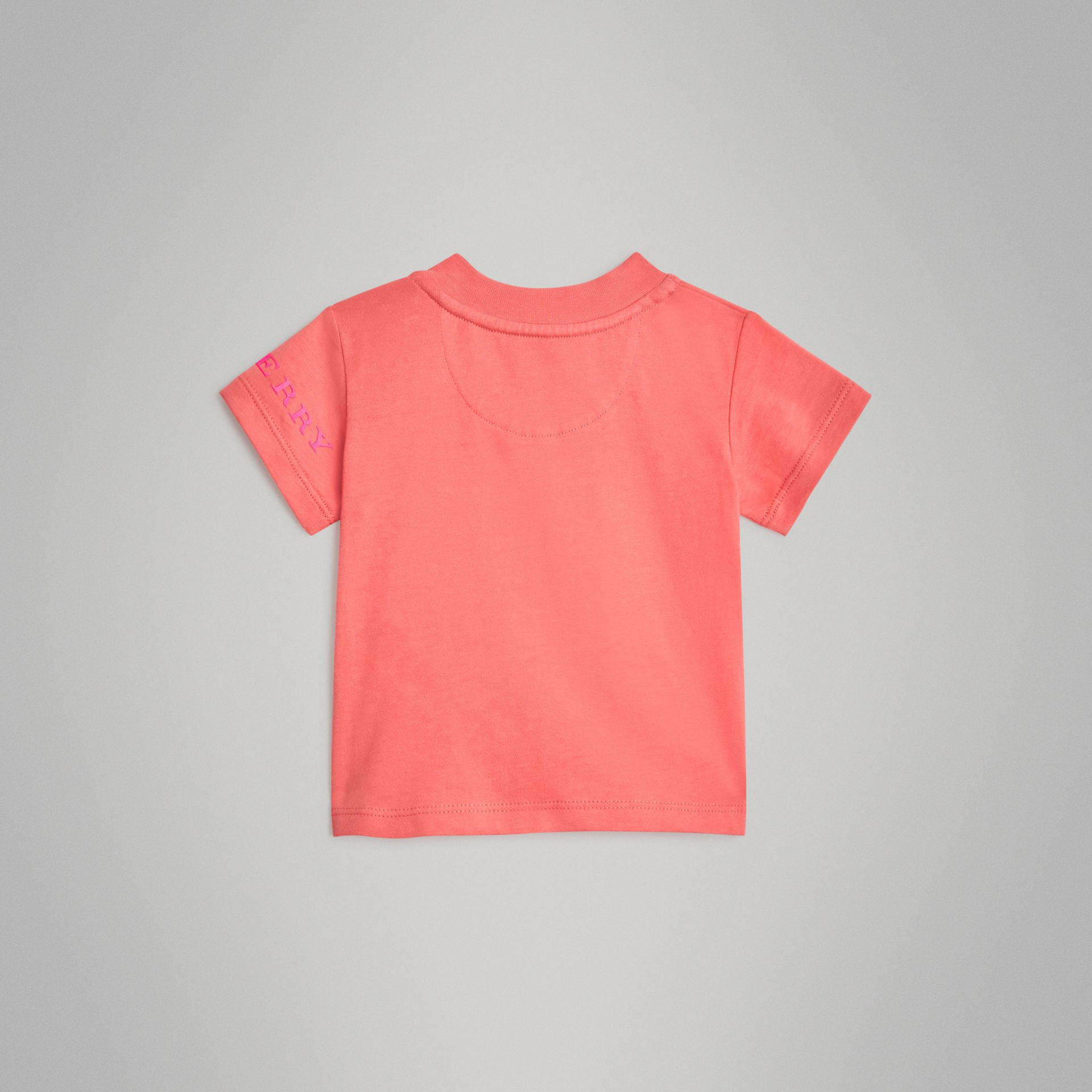 Logo Print Cotton T-shirt in Bright Pink - Children | Burberry - gallery image 3