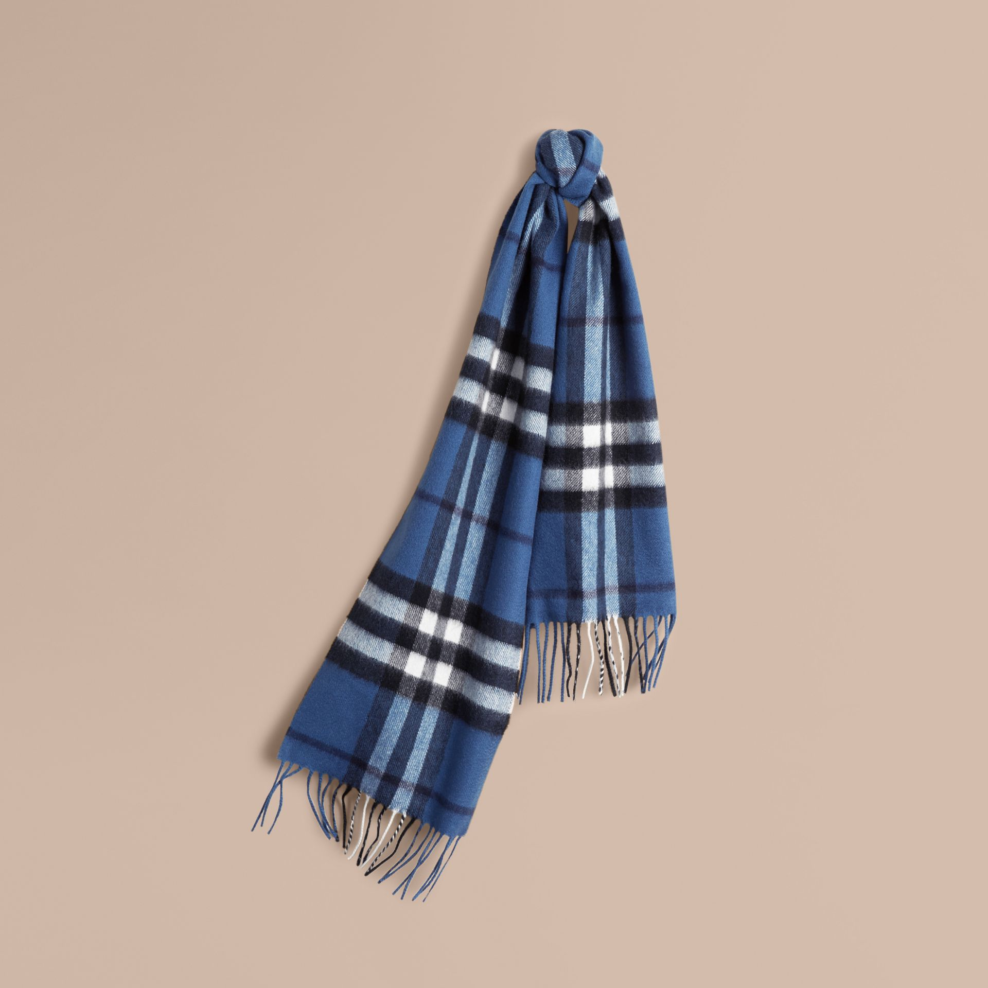 Cadet blue The Mini Classic Cashmere Scarf in Check Cadet Blue - gallery image 5