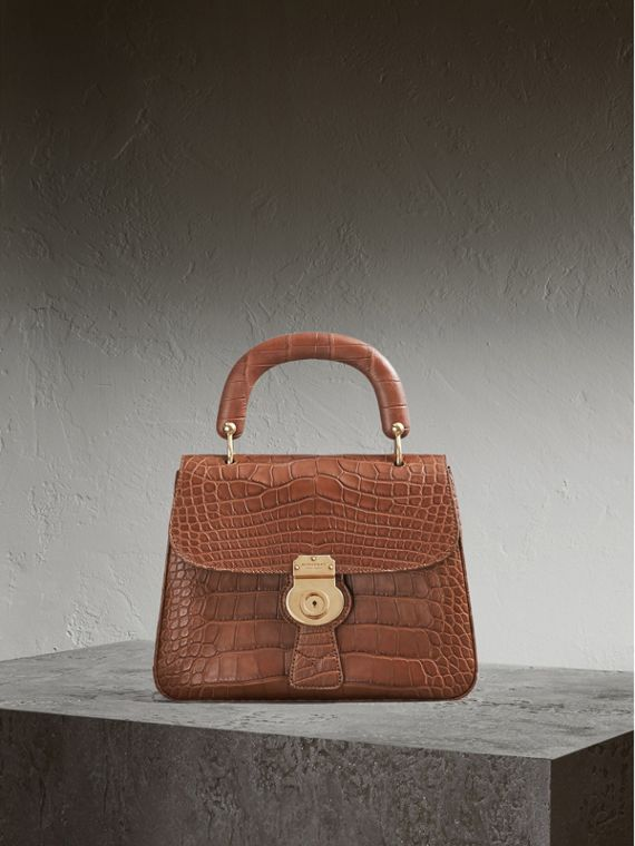 The Medium DK88 Top Handle Bag in Alligator in Tan