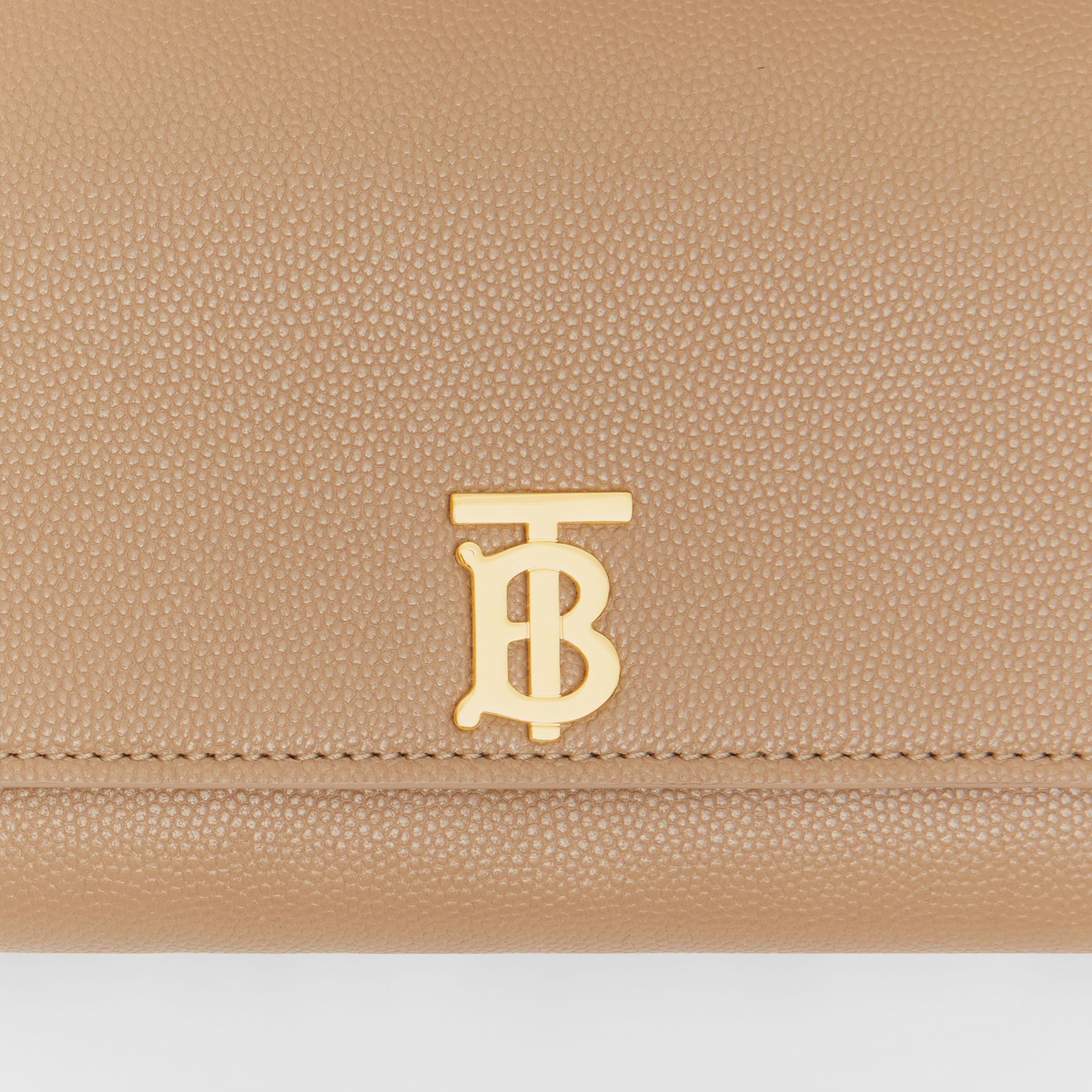 Monogram Motif Grainy Leather Continental Wallet in Archive Beige - Women | Burberry - gallery image 1
