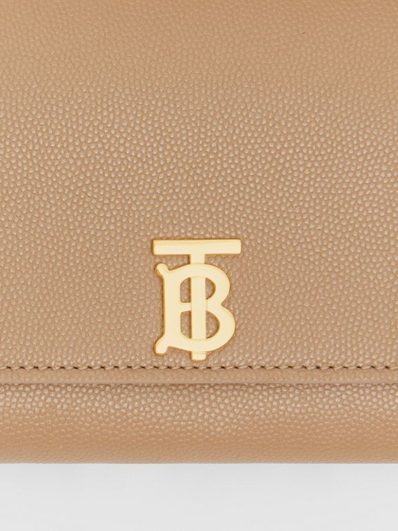 Monogram Motif Grainy Leather Continental Wallet in Archive Beige - Women | Burberry - cell image 1