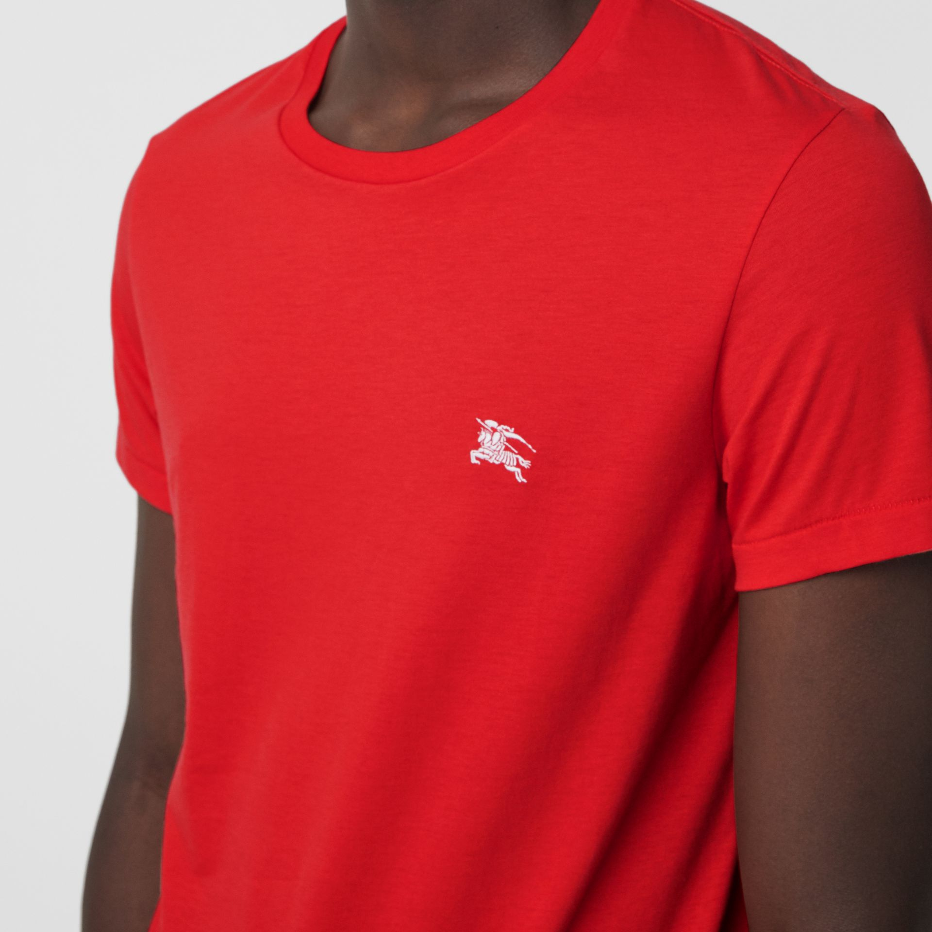 Cotton Jersey T-shirt in Bright Red - Men | Burberry Australia - gallery image 1