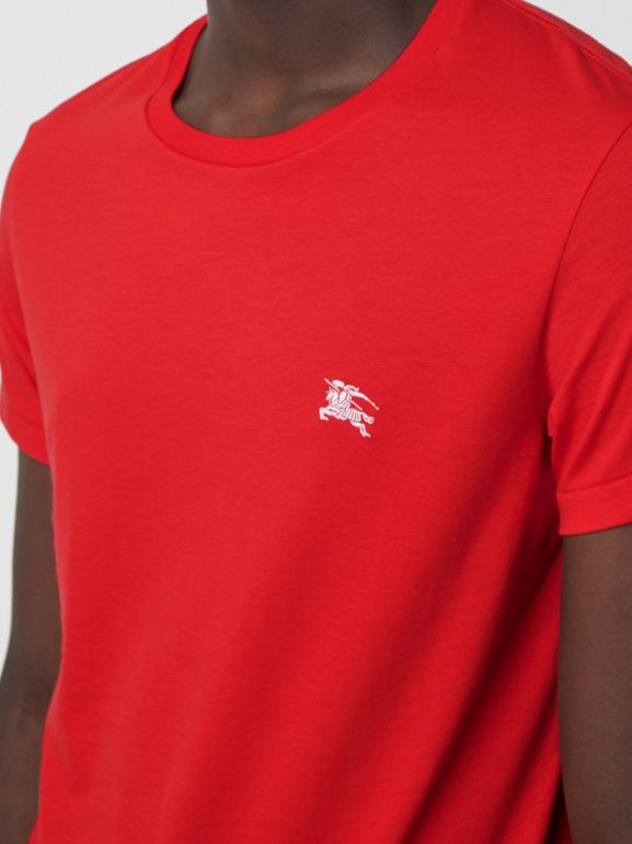 Cotton Jersey T-shirt in Bright Red - Men | Burberry Hong Kong - cell image 1