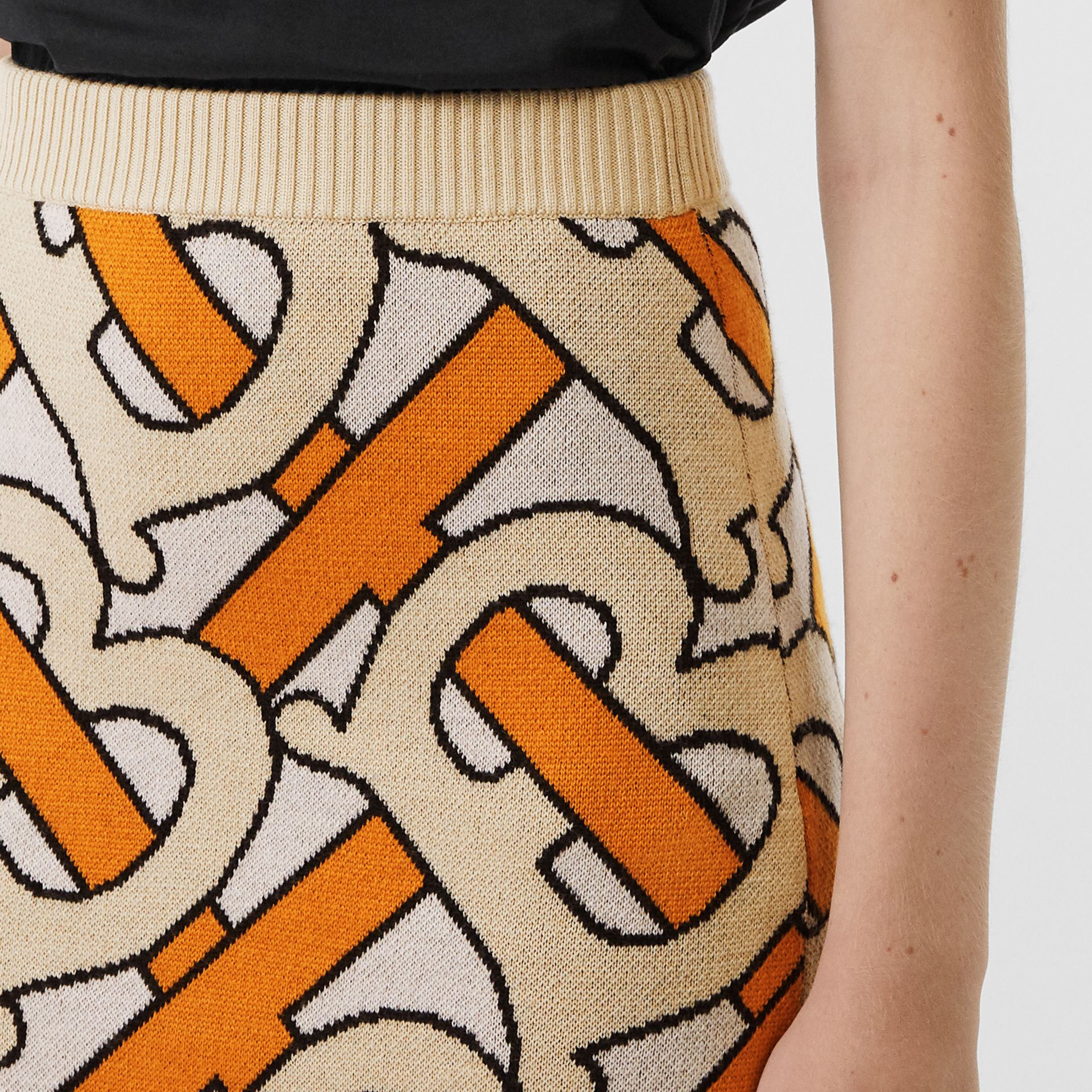 Monogram Intarsia Wool Pencil Skirt in Bright Orange - Women | Burberry United Kingdom - gallery image 1