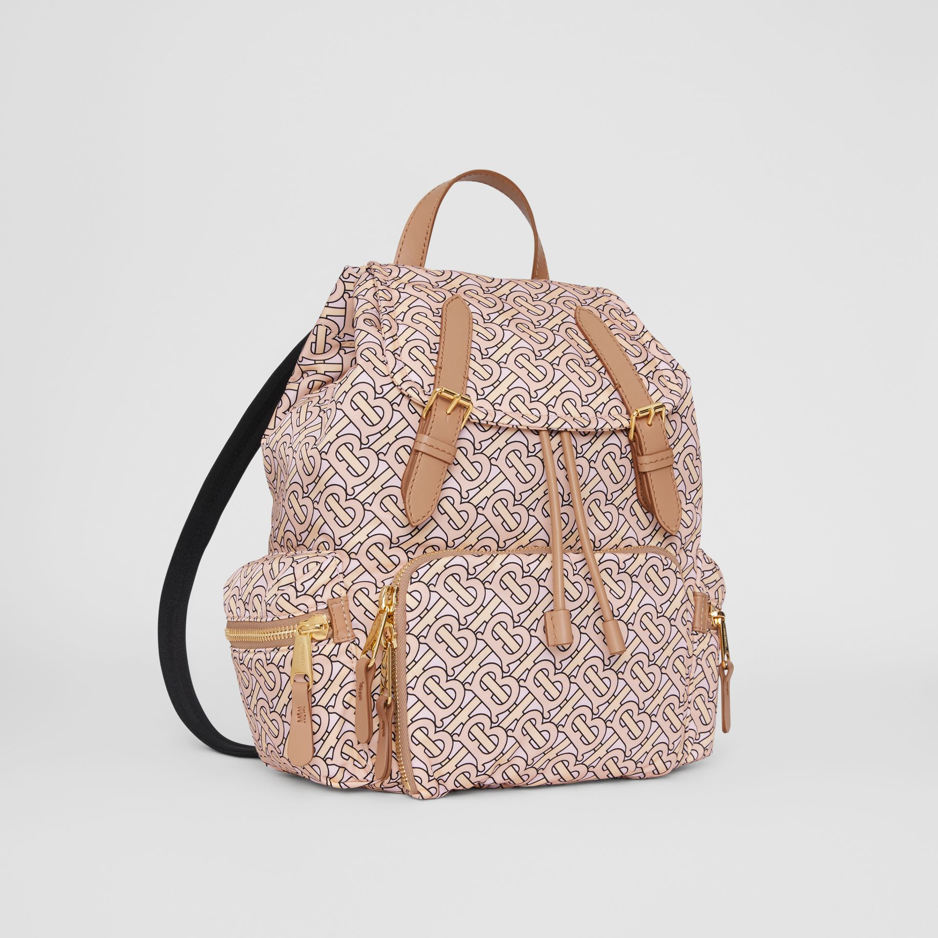 The Medium Rucksack in Monogram Print Nylon in Blush - Women | Burberry - gallery image 4