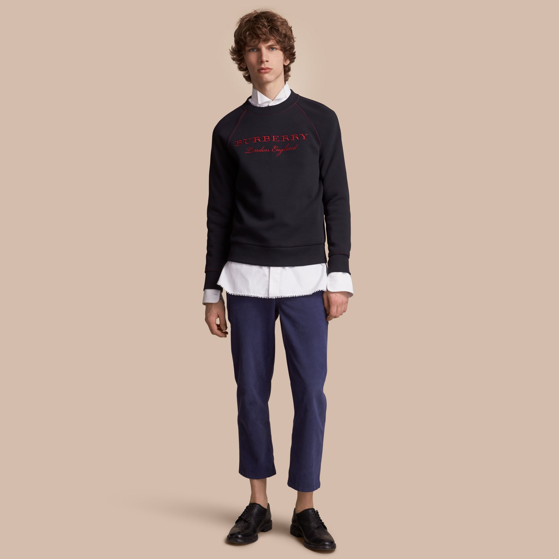 Embroidered Jersey Sweatshirt in Navy - Men | Burberry Australia - gallery image 1
