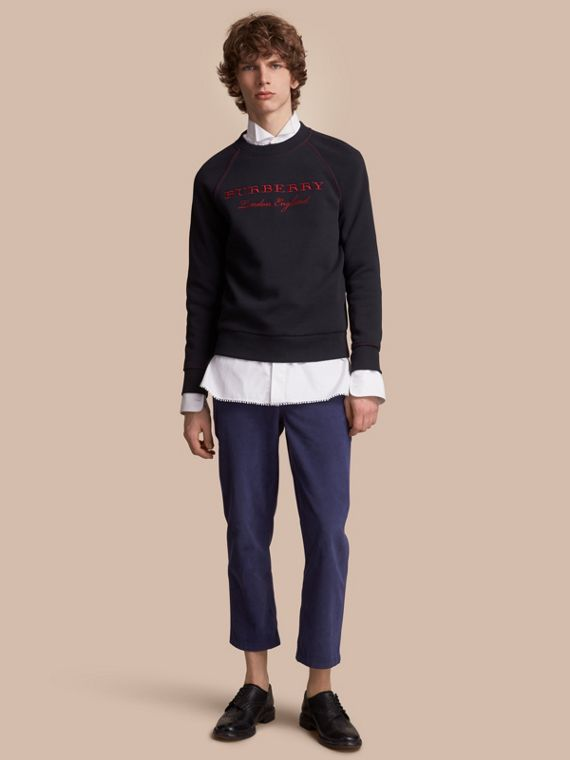 Embroidered Jersey Sweatshirt Navy