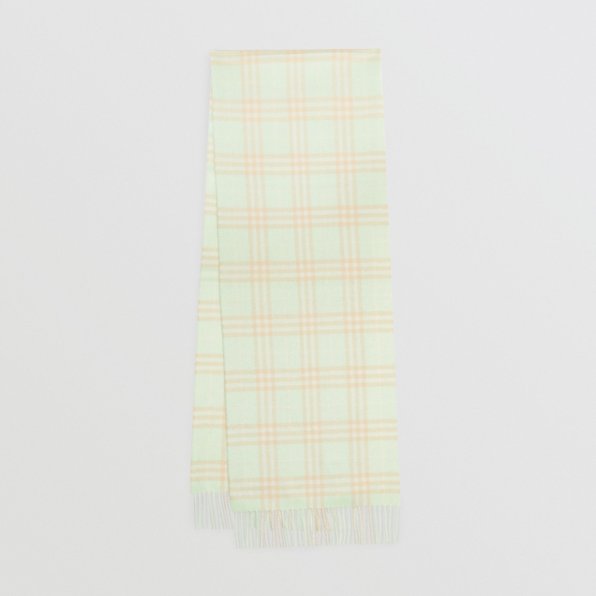 The Classic Vintage Check Cashmere Scarf in Pistachio | Burberry - gallery image 0