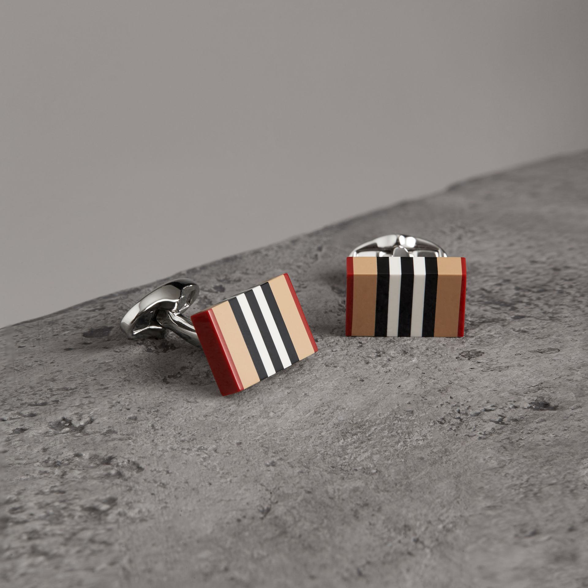 Heritage Stripe Cufflinks in Vintage Check - Men | Burberry - gallery image 0