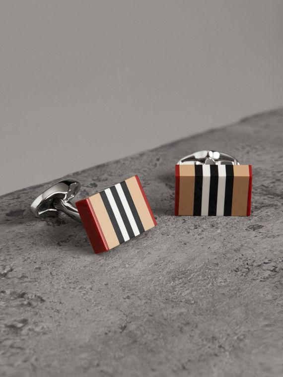 Icon Stripe Cufflinks in Antique Yellow