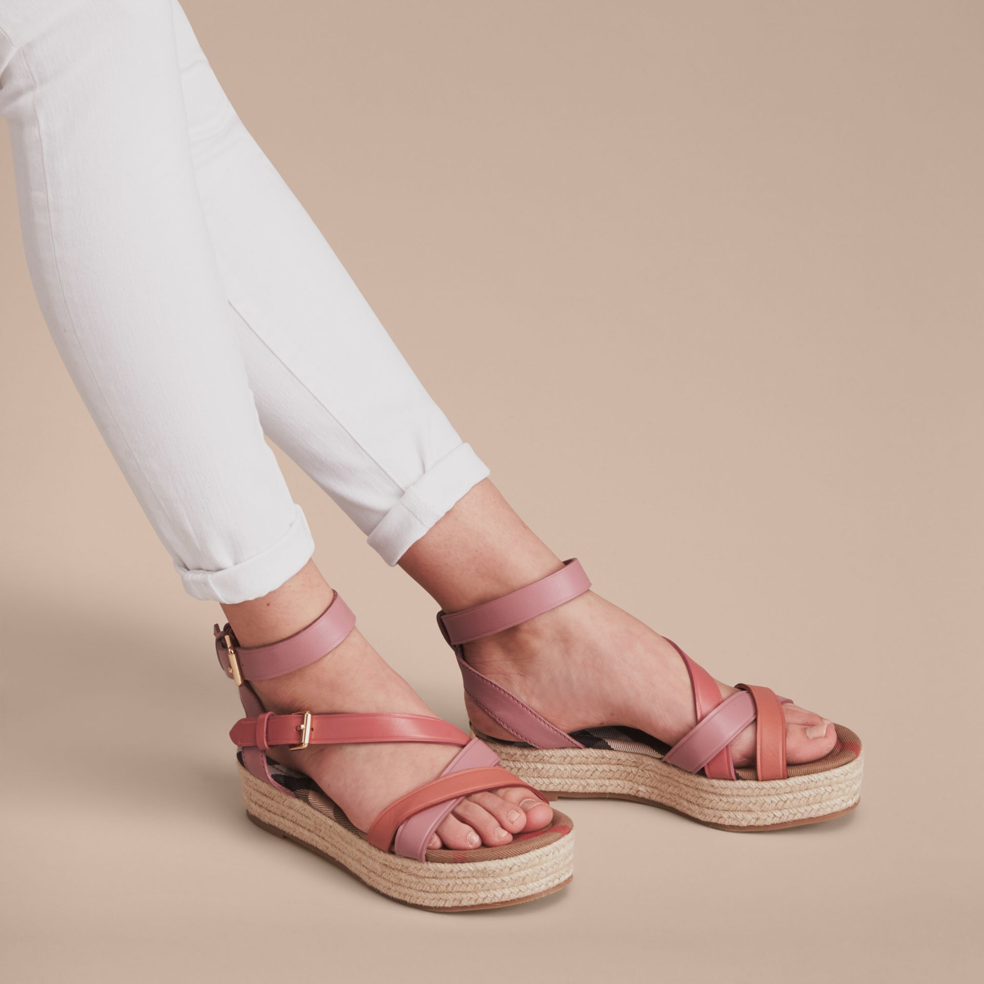 Two-tone Leather Espadrille Sandals in Dusty Pink - Women | Burberry Australia - gallery image 3