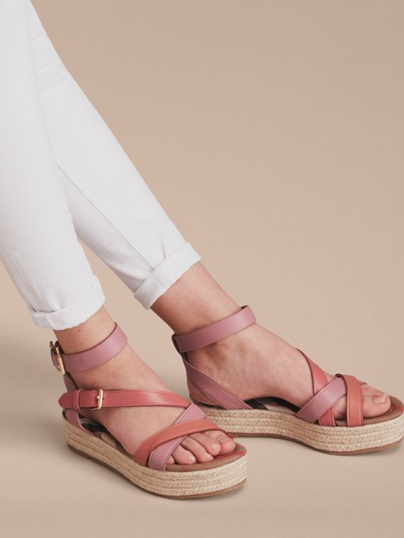 Two-tone Leather Espadrille Sandals in Dusty Pink - Women | Burberry Australia - cell image 2