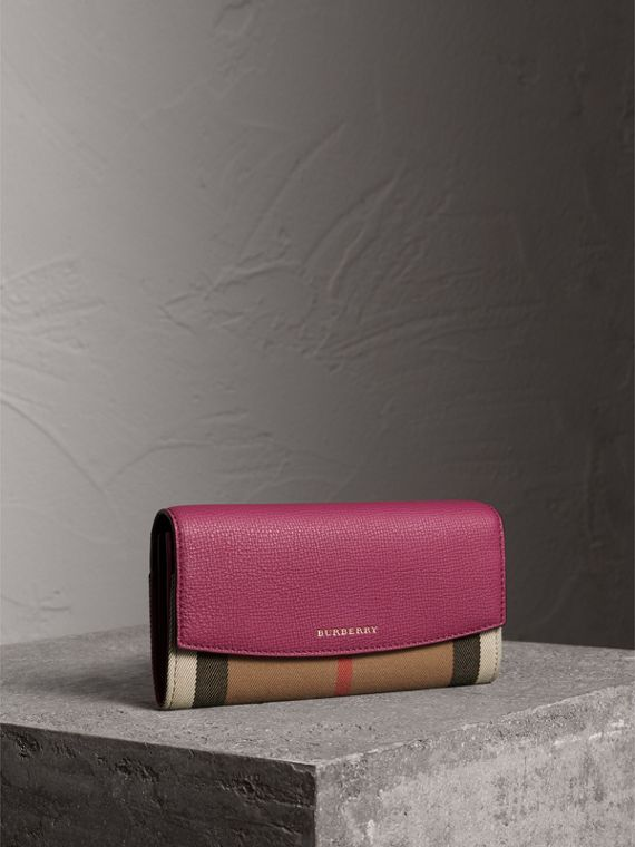 House Check and Leather Continental Wallet in Brilliant Fuchsia