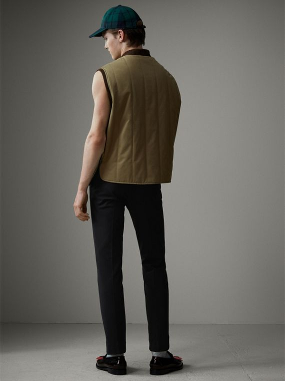 Quilted Cotton Poplin Gilet in Pale Olive - Men | Burberry - cell image 2