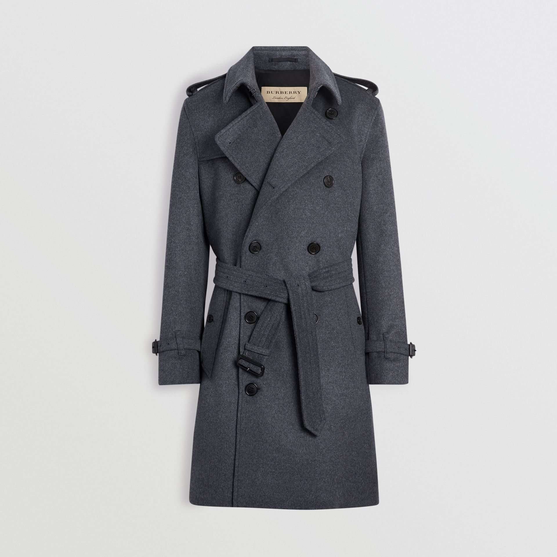 Wool Cashmere Trench Coat in Pewter Melange - Men | Burberry - gallery image 3