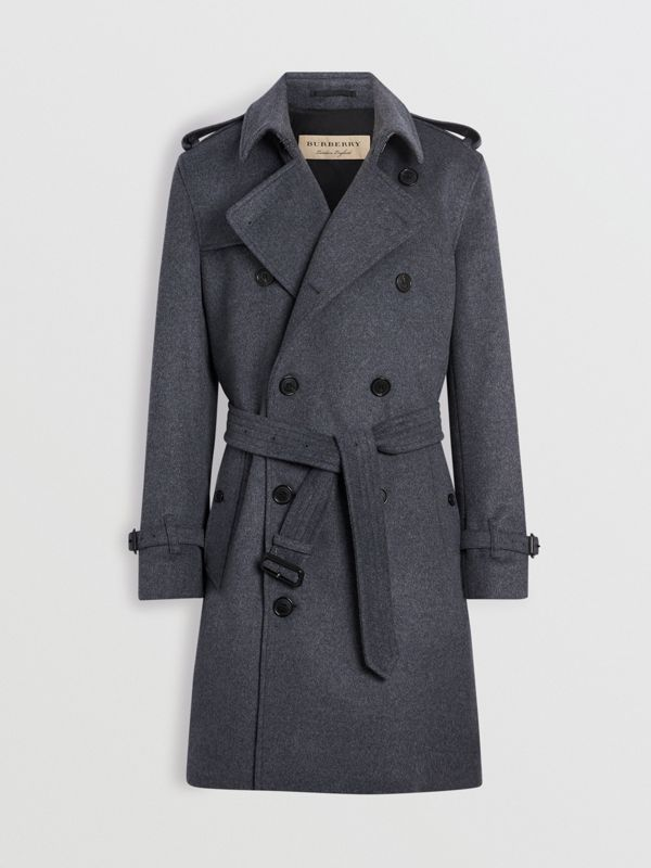 Wool Cashmere Trench Coat in Pewter Melange - Men | Burberry - cell image 3