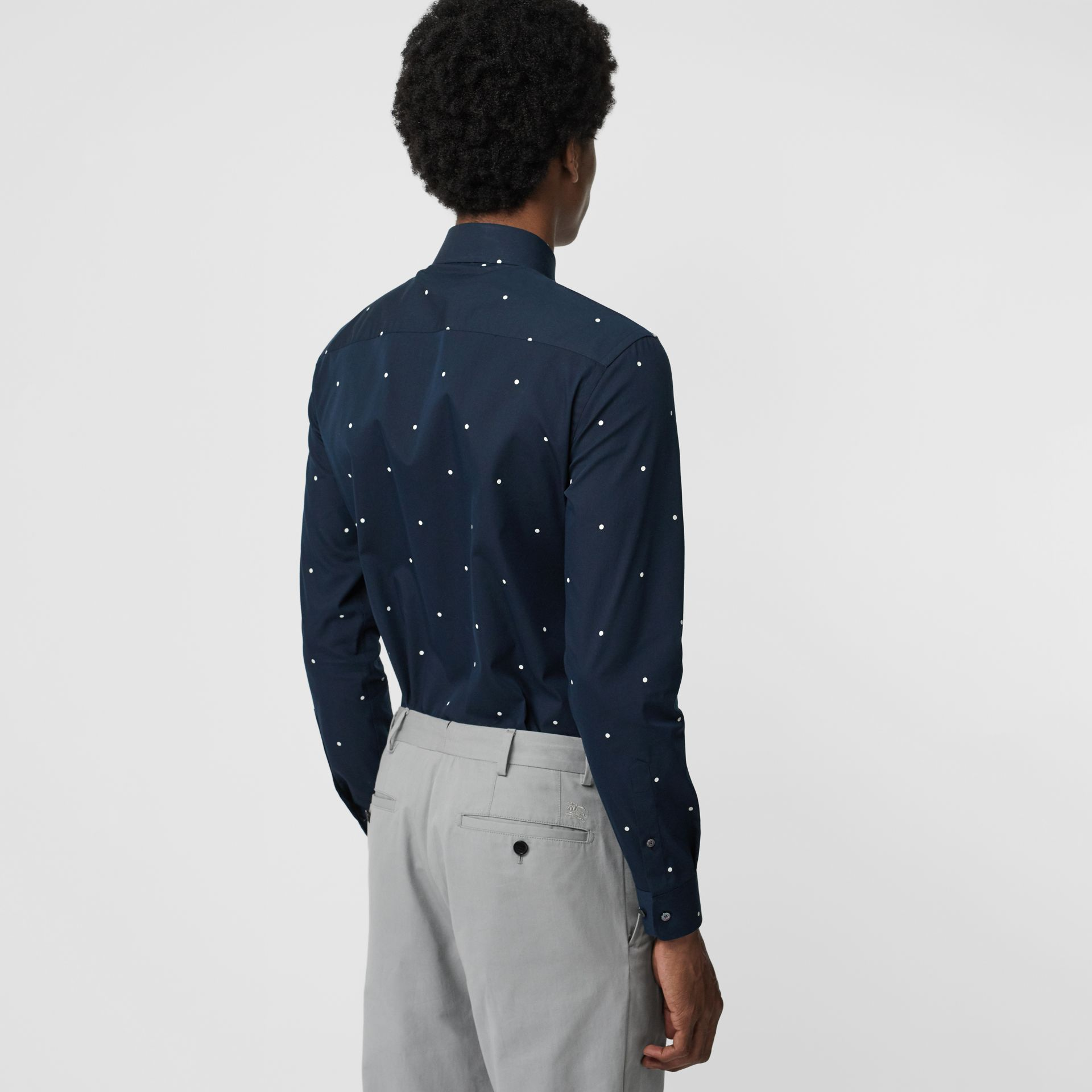 Slim Fit Polka Dot Cotton Poplin Shirt in Navy - Men | Burberry United Kingdom - gallery image 2