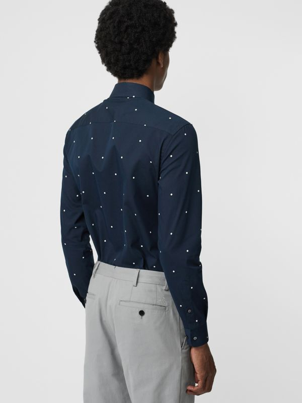 Slim Fit Polka Dot Cotton Poplin Shirt in Navy - Men | Burberry United Kingdom - cell image 2