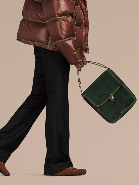 Dark forest green The Medium Satchel in English Suede - cell image 2