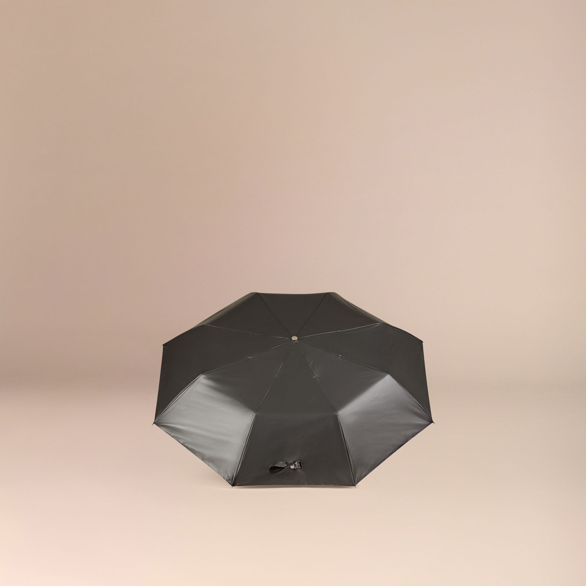Check-lined Folding Umbrella in Dark Charcoal - gallery image 4