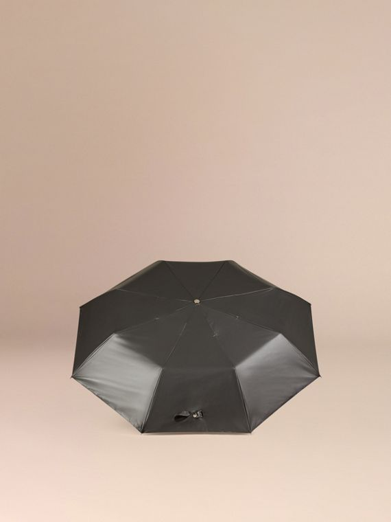 Check-lined Folding Umbrella in Dark Charcoal | Burberry - cell image 3