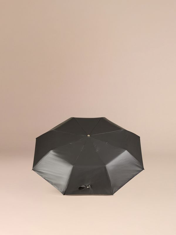 Check-lined Folding Umbrella in Dark Charcoal | Burberry United Kingdom - cell image 3